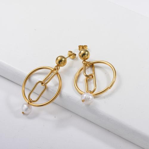 Conception de style Metel de bijoux plaqués or avec perle