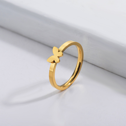 Wholesale Stainless Steel Famous Brand Gold Simple Butterfly Bridal Ring
