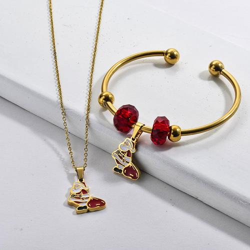 Conjunto de joyas de pendientes de collar de Papá Noel de Navidad chapado en oro de acero inoxidable