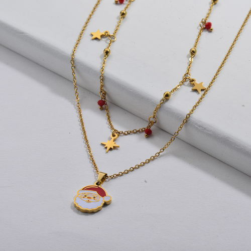 Enamel Santa Claus Double Chains Women Necklace Christmas Gift