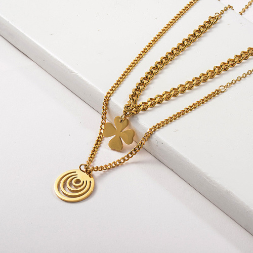 Gold Stainless Steel Flower Round Pendant Layer Chunky Chain Necklace