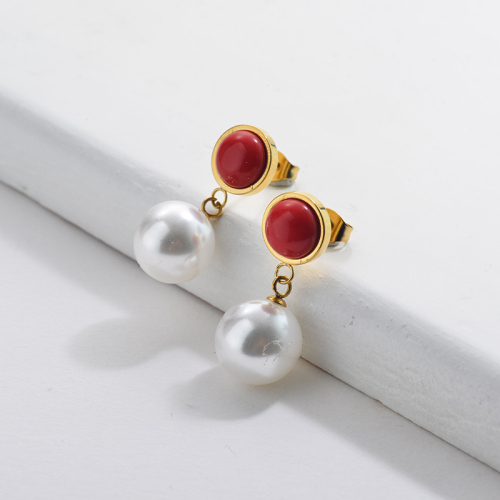 Gold Pearl Earrings with Ruby Gemstone