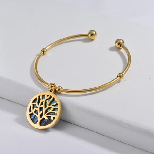Bracelet en acier inoxydable doré de style simple avec des coquillages colorés et un pendentif arbre de vie