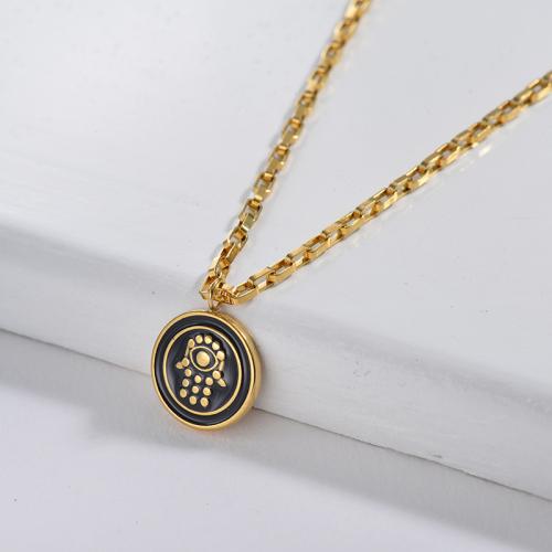 Black Enamel Round Hamsa Hand Square Link Chain Necklace