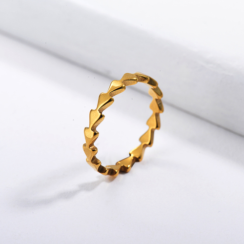 Anillo nupcial de la geometría del oro de la famosa marca de acero inoxidable al por mayor