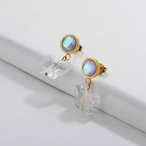 Gol Plating Opal Earrings with Crystal Butterfly