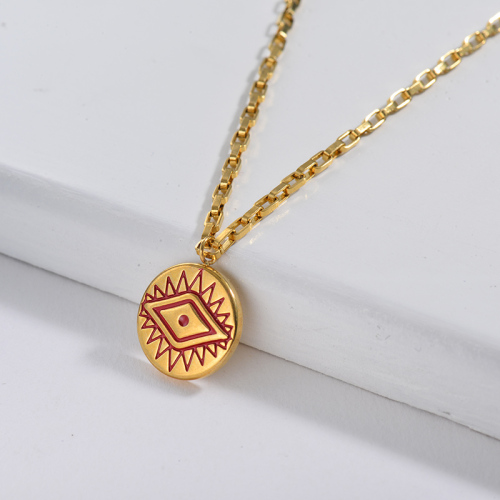 Red Evil Eye Round Pendant Square Link Chain Necklace