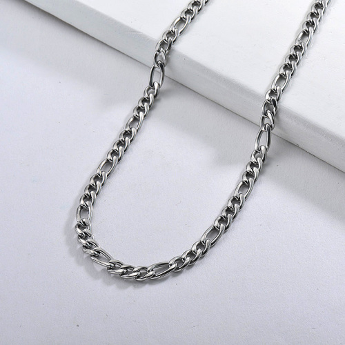 Hip Hop Style Long Gold Figaro Link Chain Necklace