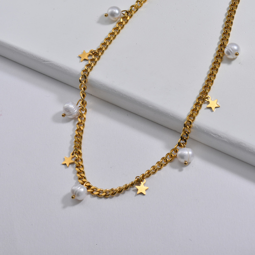 Gold Lucky Star Charm With Freshwater Pearl Chunky Curb Link Chain Necklace