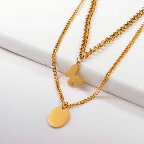 Fashion Butterfly With Round Pendant Layer Chain Necklace