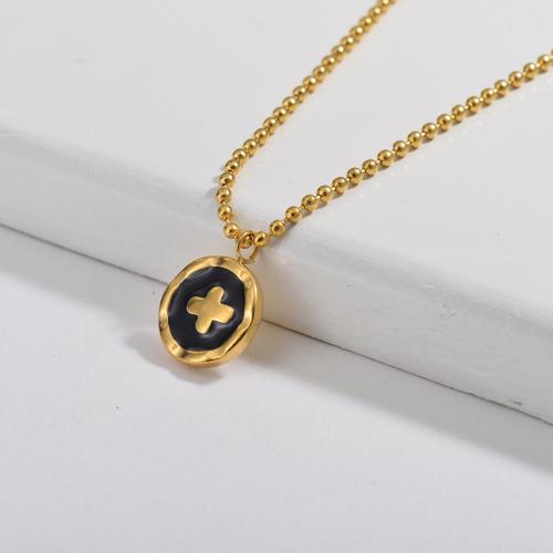Irregular Black Enamel Round Cross Pendant Beaded Chain Necklace