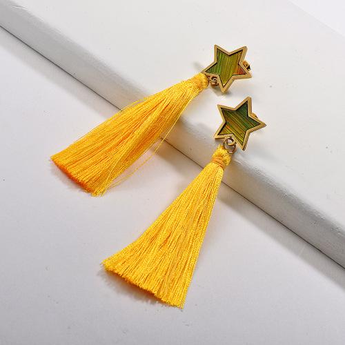 Joyas chapadas en oro Pendientes de estrella con borla de acero inoxidable