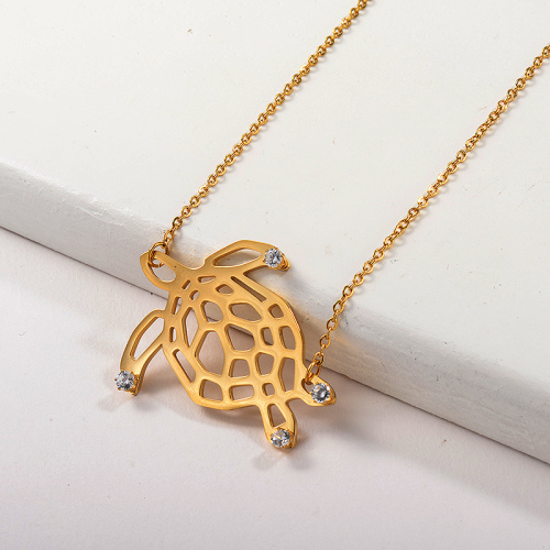 Gold Sea turtle Pendant Necklace Animal Jewelry