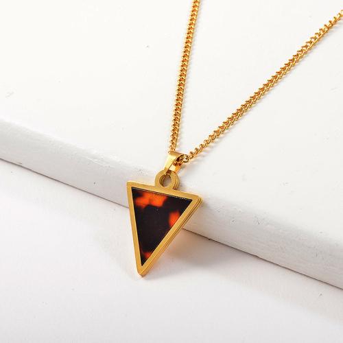 Vintage 14K Gold Plating Triangle Leopard Pendant Necklace