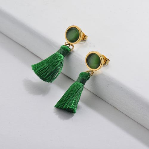 Gold Tassel Earrings Green Tassel with Emerald