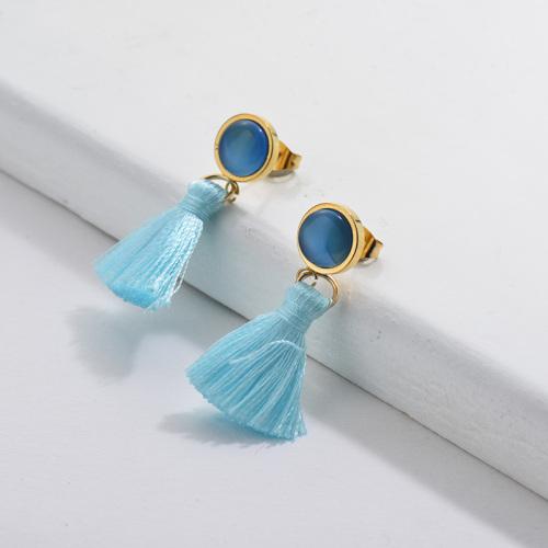 Gold Tassel Earrings Sky Blue Tassel with Blue Gemstone
