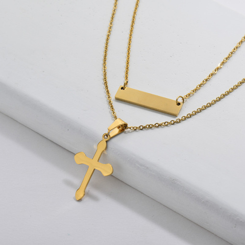 Dainty Religious Gold Cross Geometry Charm Necklace For Women