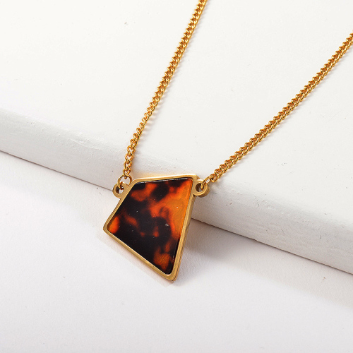 Gold Stainless Steel Geometry Leopard Necklace