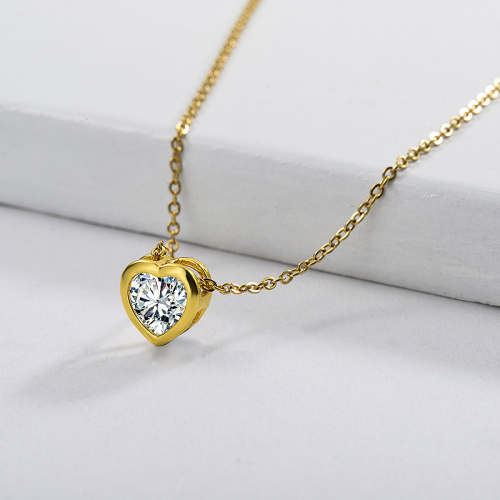 Cute Golded Copper Heart Charm With Zircon Necklace For Girlfriend