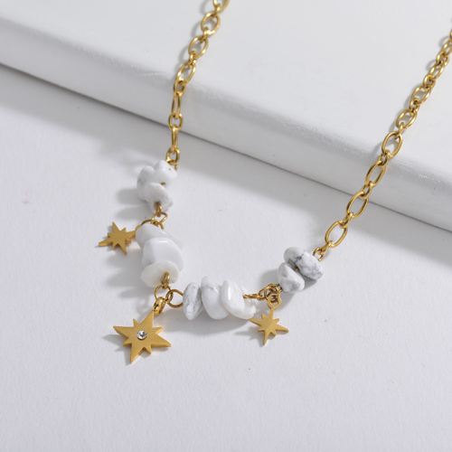 New Design Gold Star Charm With Natural Marble Stone Necklace