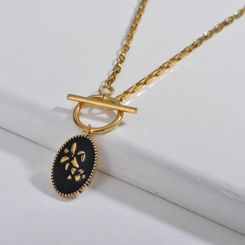 Collar de cadena de broche OT de cadena de flor de lirio redondo de esmalte negro de moda