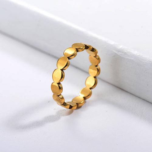 Anillos de promesa de cuentas simples chapados en oro de moda de acero inoxidable baratos