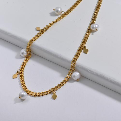 Encanto de rectángulo dorado de moda con collar de cadena de eslabones gruesos de perlas de agua dulce