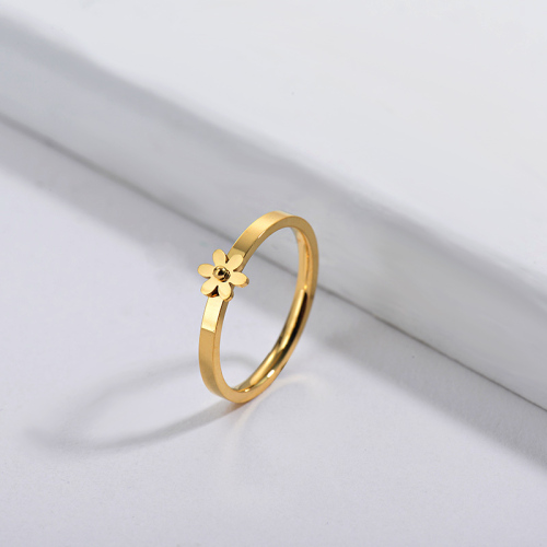 Wholesale Stainless Steel Gold Plated Flower Wedding Ring