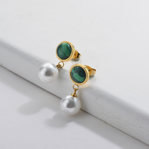 Gold Pearl Earrings with Emerald