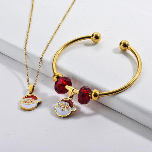 Vente en gros Ensemble de bracelet de collier de Noël plaqué or en acier inoxydable