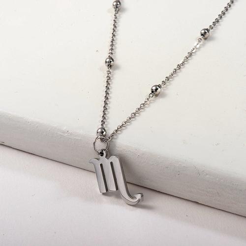 Collier zodiaque perlé en acier inoxydable avec pendentif Constellation du Scorpion