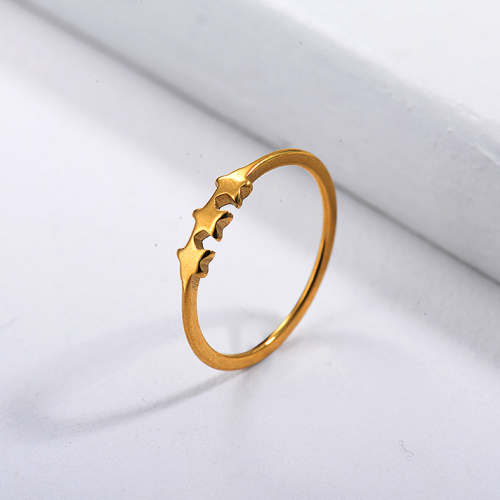 Stainless Steel Famous Brand  Gold Plated Star Wedding Ring Designs