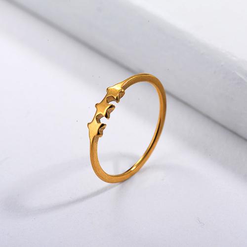 Diseños de anillos de boda de estrella chapados en oro de marca famosa de acero inoxidable
