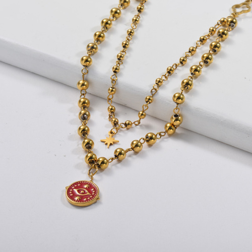 Red Enamel Evil Eye Pendant With Colver Charm Layer Ball Chain Necklace