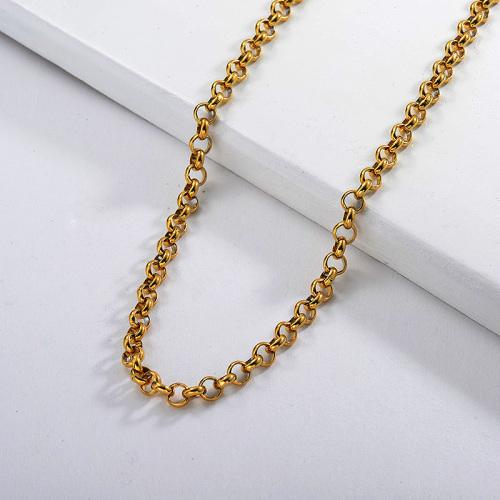Collar de cadena de eslabones redondos largos chapado en oro punk