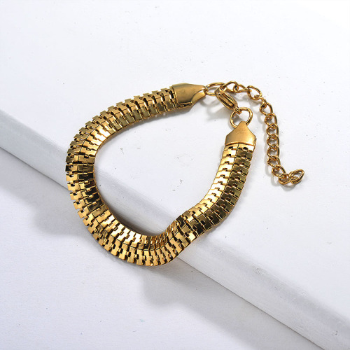 Gold Hiphop Fine Personality Snake Bone Stainless Steel Chain Bracelet Hot Selling Jewelry