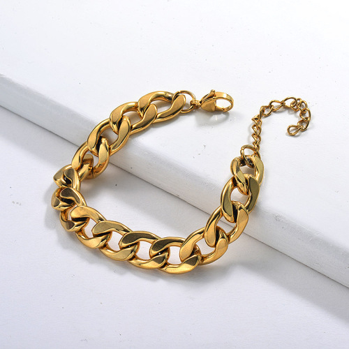 Gold Hiphop Fine Personality Cuban Link Chain Stainless Steel Bracelet Hot Selling Jewelry