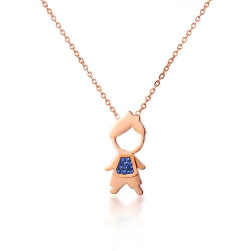 Collar de oro rosa con patrón de retrato de estilo de moda