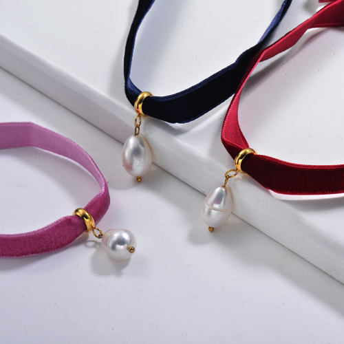 Fashion Natural Freshwater Pearl Pendant Pink Blue Wine Flannel Choker Necklace Set