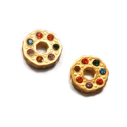 Pendientes de botón de acero inoxidable de moda de diseño de joyería chapados en oro