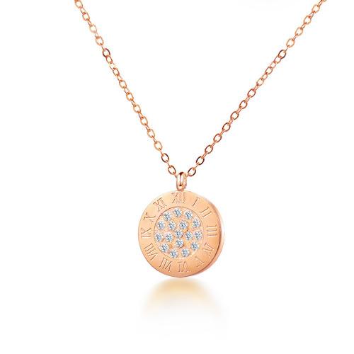 Fashion diamond style rose gold necklace