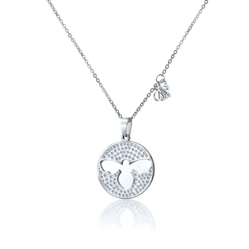 Fashion style round silver necklace
