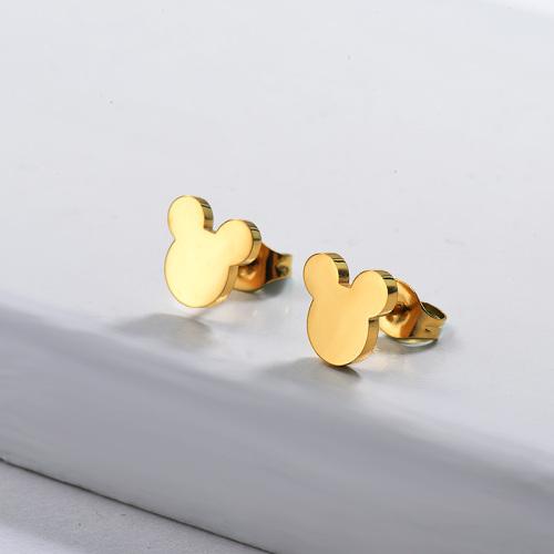 Pendientes de botón de acero inoxidable con diseño de Mickey de joyería chapada en oro