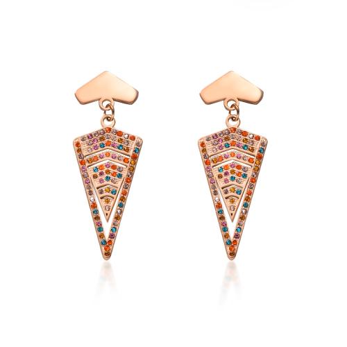 Pendientes de triángulo multicolor de acero inoxidable con diseño Siemple de joyería chapada en oro rosa