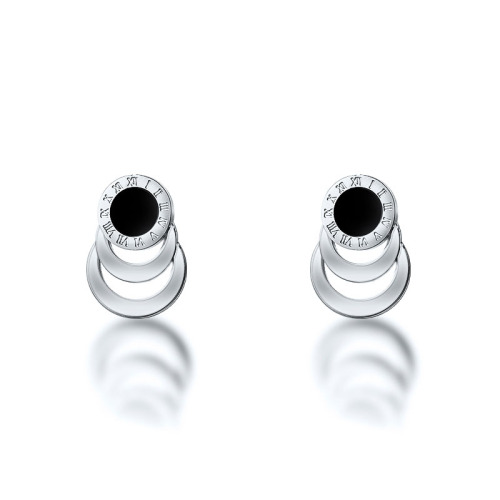 Silver Plated Stainless Steel Jewelry Roma Design Stud Earrings