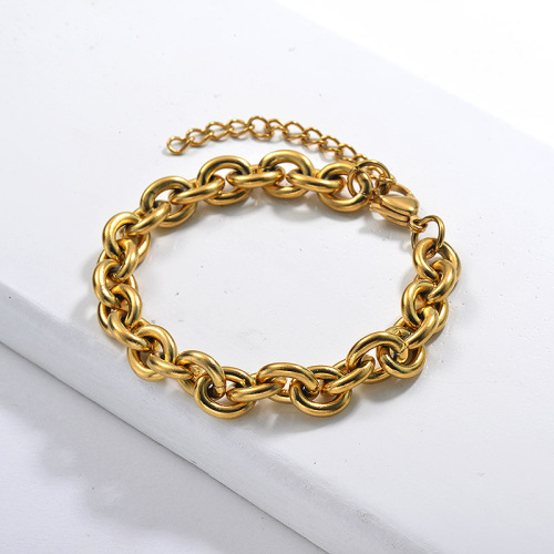 New Stainless Steel Design Men Women's Chain Braclet Gold Plated Large Anch Chain Bracelet