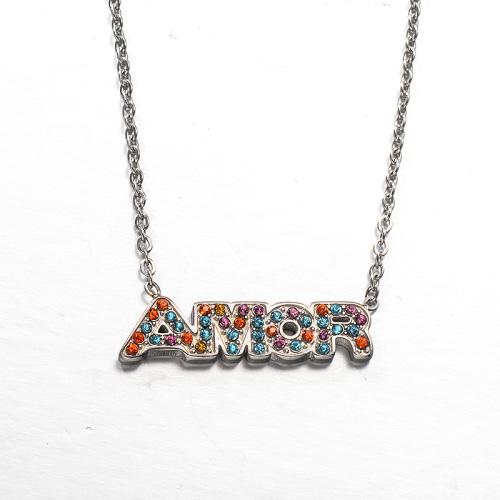 Fashion colored diamond style silver necklace