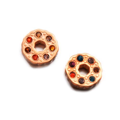 Pendientes de botón de cristal multicolor de joyería chapada en oro rosa
