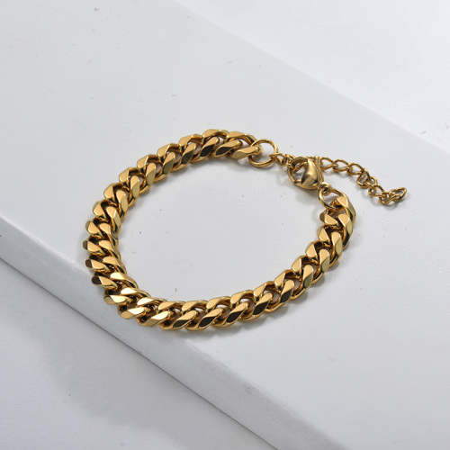 Gold Plated Stainless Steel Cuban LInk Chain Bracelet