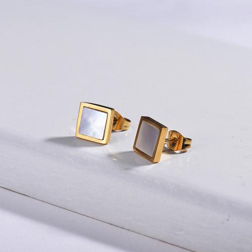 Pendientes de ópalo de acero inoxidable con diseño de personalidad de joyería chapada en oro